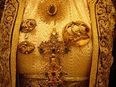 Jewelry from Corfu island, Ionian sea, Greece Folk Clothing, Greek Clothing, Historical Clothing, Greece Costume, Folk Costume, Costumes, Greek Traditional Dress, Corfu Island, Greek Jewelry