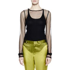 Haider Ackermann Long-Sleeve Pois Tulle Top ($700) ❤ liked on Polyvore featuring tops, black, women's apparel tops tees, haider ackermann, sheer polka dot top, form fitting tops, sweater pullover and polka dot top