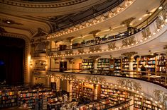 30 Most Beautiful Bookshops Around The World   3. Librería El Ateneo Grand Splendid, Buenos Aires, Argentina El Ateneo Grand Splendid is a gorgeous renovated movie theater, that is now home to a variety of books. It retains the 1920s glamor using theater boxes for reading rooms, painted ceilings and crimson stage curtains. It is believed that over a million people visit this majestic bookstore every year.