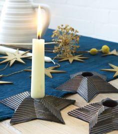 Metallic Star Candle Holder — Harriet Caslin Geometric Star, Geometric Designs, Star Candle, Dinner Table, Candle Holders, Glow, Metallic, Candles, Stars