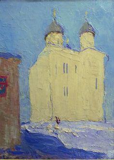 Tkachev Brothers (Sergei b. 1922 and Alexei b. 1925), Russian, Leningrad School of Painting/Soviet Impressionism, St. George Cathedral of Novgorod (1961)
