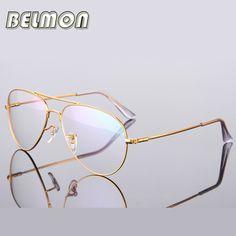 Gold Glasses Frame Women Men Computer Optical Eyeglasses Spectacle Frame For Women's Transparent Male Armacao Oculos de RS271
