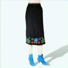 Barney's NY Lance Karesh black wool beaded skirt As head designer for Barneys New York, Lance Karesh knows a thing or two about fine fabrics and styling. This skirt is made of the very high quality fine wool beaded and hand embroidered. This sits at the natural waist and has a slit up the left side to above the knee. Trimmed at the waist with embroidered ribbon. Fully lined in silk. Barney's New York Lance Karesh Skirts Midi