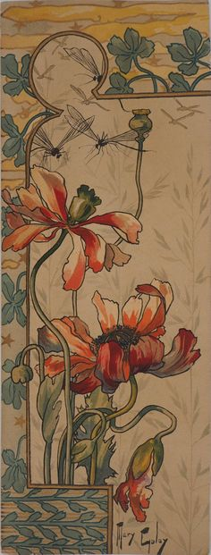 Mar 2020 - Mary Golay - Art nouveau Stylized Red Poppies - Original lithograph For Sale at Fleurs Art Nouveau, Motifs Art Nouveau, Azulejos Art Nouveau, Art Nouveau Mucha, Art Nouveau Poster, Art Nouveau Flowers, Art Nouveau Illustration, Bijoux Art Nouveau, Poster Art