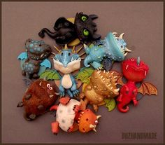 """How to train Your Dragon"" polymer clay dragons :)"