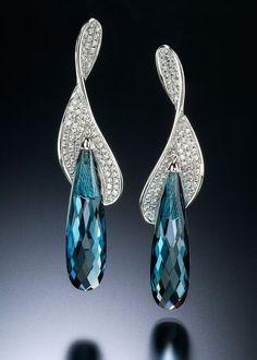 http://rubies.work/0780-emerald-earrings/ Adam Neeley Fine Art Jewelry   Voltire Earrings with Blue Topaz