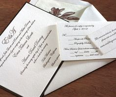 Ellen is a subtle, yet elegant wedding invitation design that everyone loves.  Without a graphic motif, your font is going to set the tone for your big day. Let Ellen's typography carry through to matching enclosure and response cards to create the perfect wedding invitation suite for your romantic big day.