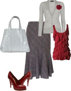 """""""Gray/Red"""" by grissomrn ❤ liked on Polyvore"""