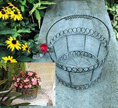 Victorian Wirework Flower Basket Garden Coffee Table, Coffee Table Books, Garden Gifts, Flower Basket, Planter Pots, Old Things, Shabby Chic, Victorian, Crafts