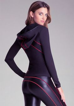 Nice running outfit with red stripes and a sexy leather-lokking pant Nice running outfit with red stripes and a sexy leather-lokking pant Mädchen In Leggings, Shiny Leggings, Cheap Leggings, Black Leggings, Tights, Legging Outfits, Leggings Fashion, Estilo Fitness, Yoga Pants Girls