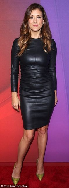Va va voom: Kate Walsh wore a skintight leather black frock paired with green pointy heels...