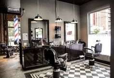 Barber Shop Inspiration- Decor Ideas and Design Buyrite Beauty Salon Equipment Vintage Modern Modern Barber Shop, Best Barber Shop, Barber Shop Interior, Barber Shop Decor, Hair Salon Interior, Salon Interior Design, Salon Design, Interior Decorating, Spa Design