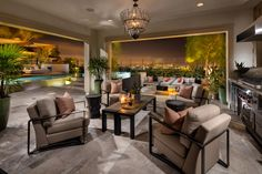 Enjoy the splendor of this magnificent indoor/outdoor space, ideal for your next party from the Westcliffe at Porter Ranch Palisades Collection, by Toll Brothers.