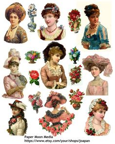 Printable Victorian  Ladies Collage Sheet 103  Instant by joapan