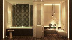 salle de bain de luxe à motifs baroques