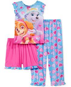 Ame Toddler Girls' 3-Piece Paw Patrol Heart Pajamas Set