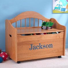 Premium Edition Personalized Toy Box - Honey