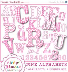 50 off PINK ALPHABET uppercase alphabet in 6 by LillyBimble, $2.50