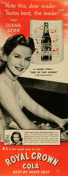 This is an original 1945 two-color print ad for Royal Crown Cola, featuring the lovely Diana Lynn, a star of Paramount Pictures' Out Of This World. CONDITION This 66+ year old Item is rated Near Mint                                                                                                                                                                                  More