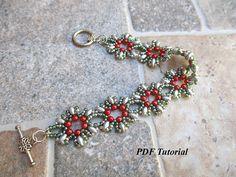 "Bracelet Pattern, PDF Tutorial, DIY Bracelet, Floral Pattern, Superduo Tutorial, Pearl Bead Pattern, Beading Bracelet, ""Poinsettia"" Pattern"