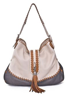 CARLA MANCINI Whipstitched Tote with Tassel