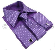 Boys Kids Button Shirt Tie Cuff Link & Hankie Purple Silver Shiny Trim Design
