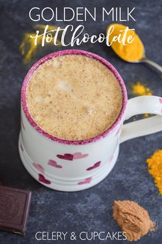 A comforting vegan golden milk hot chocolate made with turmeric and cinnamon - the perfect way to get some hygge into your life! @celery_cupcakes