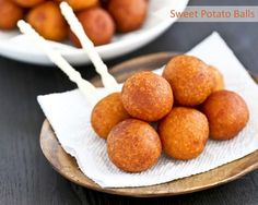Only a few simple ingredients used in these gluten free Sweet Potato Balls deep fried to golden perfection. They make a tasty tea time or snack time treat. (Makes 30 sweet potato balls) Sweet Potato Balls Recipe, Sweet Potato Rice, Sweet Potato Recipes, Potato Food, Potato Dumpling Recipe, Sweet Potato Dumplings, Gf Recipes, Cooking Recipes, Free Recipes