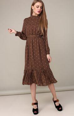 Платье-миди с широкой оборкой в стиле ретро Sun Shine / 2000000250513-3