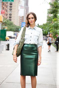 Louise Roe takes the Tibi Bonded Vinyl Pencil Skirt to NYFW.