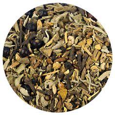 Immunity Booster Herbal Tea, Loose Leaf Tea. Ginger, dandelion root and juniper berries form a cleansing herbal tea. Ingredients: Licorice, cinnamon, burdock root, ginger, dandelion root, fennel, aniseed, juniper berries, coriander, black pepper, parsley, sage, cloves, turmeric.