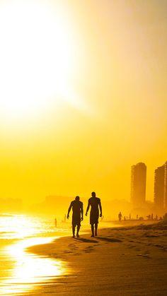 Golden Sunset Beach Walk #iPhone #6 #plus #wallpaper