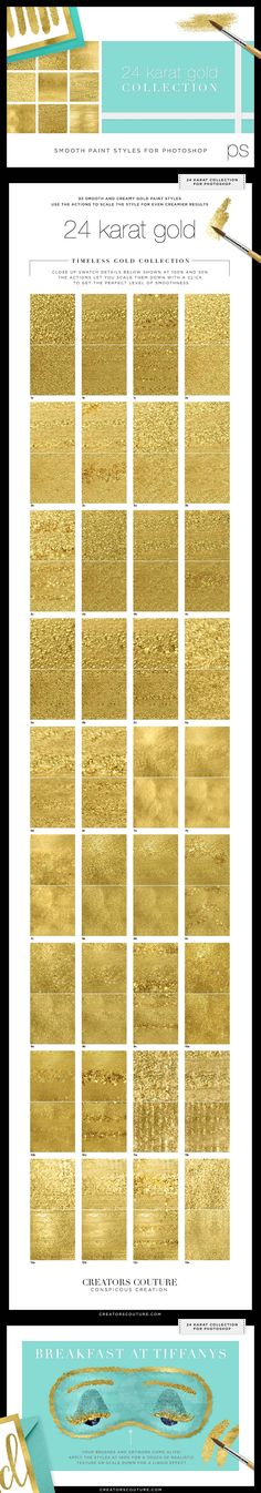 liquid gold textures, hand painted textures apply them in rose gold and silver as well Perfect for all your gold and glam illustrations, designs and printables! One click gold swatches for Adobe Photoshop! https://crmrkt.com/1pM5DW