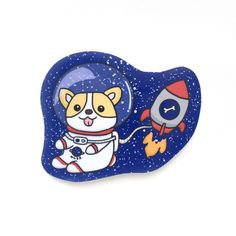 This listing includes 1 X space corgi sticker Approximate Dimension: Width: 3.80 inches Height: 3.15 inches These stickers are hand drawn then digitally scanned and colored by me. Each one is then pri