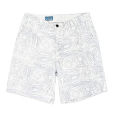 Cisco Shorts in White with Blue Chart Print by Castaway Clothing