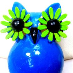 MOD OWL Pin 1960s Hippie Give a HOOT Brooch by VintageStarrBeads