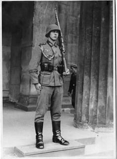 An German guard on duty.