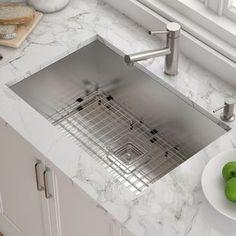 Kraus Pax™ x 19 Undermount Kitchen Sink with Drain Assembly - Kraus Pax 29 x 19 Undermount Kitchen Sink with Drain Assembly - Steel Kitchen Sink, Stainless Steel Kitchen, New Kitchen, Kitchen Decor, Kitchen Sinks, Kitchen Ideas, Kitchen Inspiration, Rustic Kitchen, Kitchen Layout