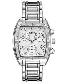 Bulova Watch, Women's Chronograph Diamond Accent Stainless Steel Bracelet 31mm 96R163 - Women's Watches - Jewelry & Watches - Macy's