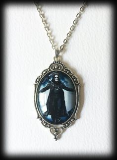 The Crow Necklace, Brandon Lee Glass Cameo Pendant, Gothic Jewelry, Alternative Jewelry, Gothic Gift, Handmade Jewelry by WhisperToTheMoon on Etsy