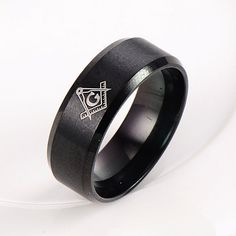 USA 14k Black Stainless steel Men's His Freemason Mason Black Ring Size 7-13