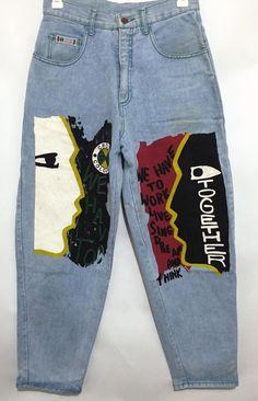 Vintage Cross Colours Paint Graffiti Baggy Hip Hop Jeans Size 30x32 USA…