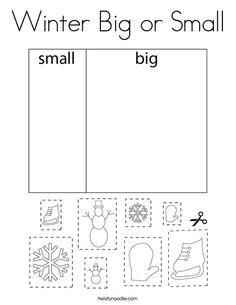 Winter Big or Small Coloring Page - Twisty Noodle Coloring Pages Nature, Coloring Pages Winter, Block D, School Sports, Winter Is Here, Kids Prints, Mini Books, Noodle, Templates