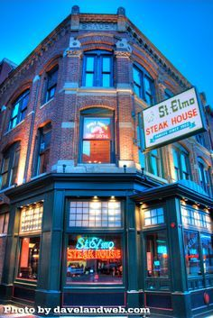 ST ELMO STEAK HOUSE   St. Elmo Steak House has been a landmark in downtown Indianapolis since 1902. It is the oldest Indianapolis steakhouse in its original location, and has earned a national reputation for its excellent steaks, seafood, chops and professional service.
