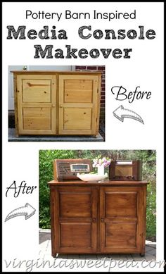 Pottery Barn Inspired Media Console Makeover - Stain makes this piece go from blah to wow!