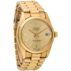 Pre-owned Rolex 18K Datejust Watch ($6,950) ❤ liked on Polyvore featuring jewelry, watches, accessories, crown jewelry, preowned jewelry, rolex watches, gold-face watches and rolex jewelry