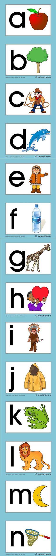 Letterkaarten voor kleuters a, n, kleuteridee.nl , abc cards for preschool , free printable