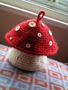 (4) Name: 'Crocheting : Mushroom Project Pouch