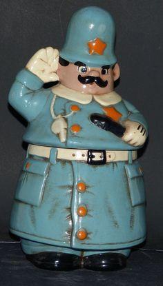 RARE Vintage 1940 - 1950 Keystone Cop Twin Winton Cookie Jar