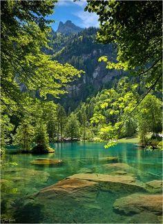 Lake Blausee (Blue Lake), near Kandersteg, Switzerland <3